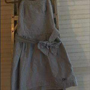 little girls navy and white stripped dress